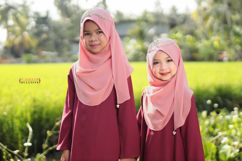 Instant Shawl Anak - Dusty Pink