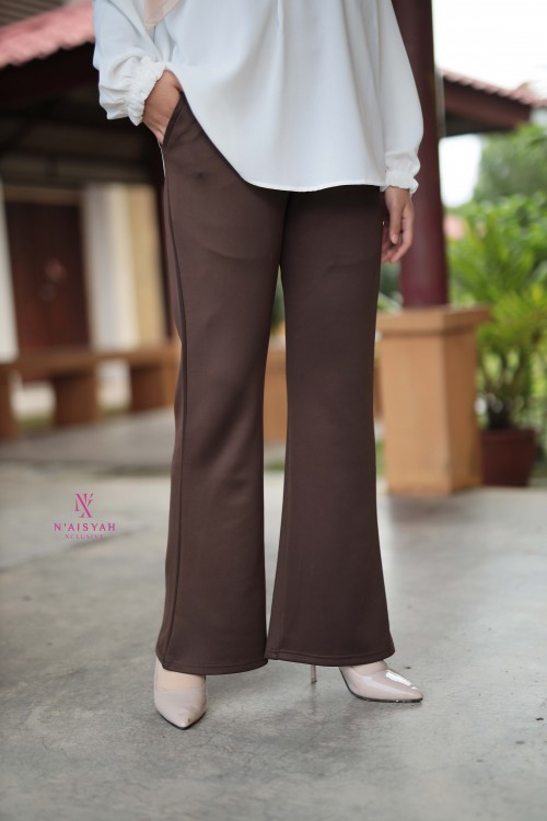 Hayla Pants Bootcut - Dark Coffee