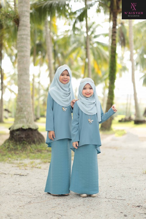 Sarimah Kurung Anak - Dusty Blue (6~12)