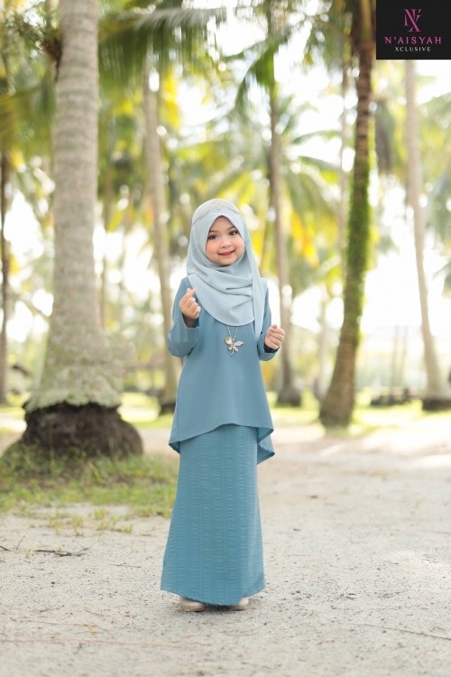 Sarimah Kurung Anak - Dusty Blue (2~4)