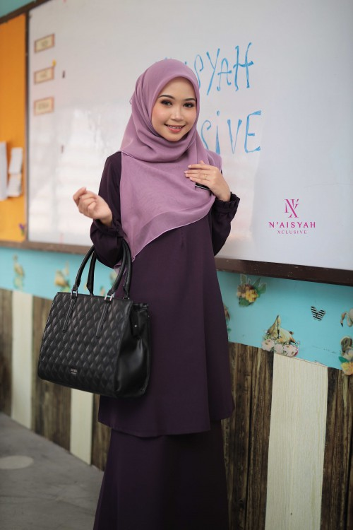 Cik Mariam Kurung - Dark Purple