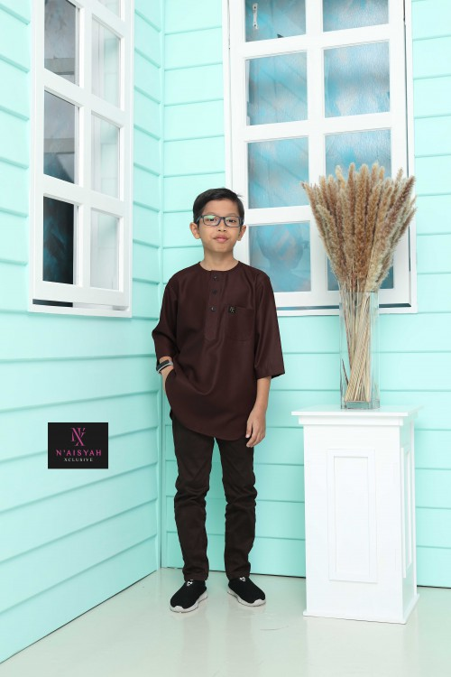 Kurta Yussof Anak - Dark Brown (L-2XL)